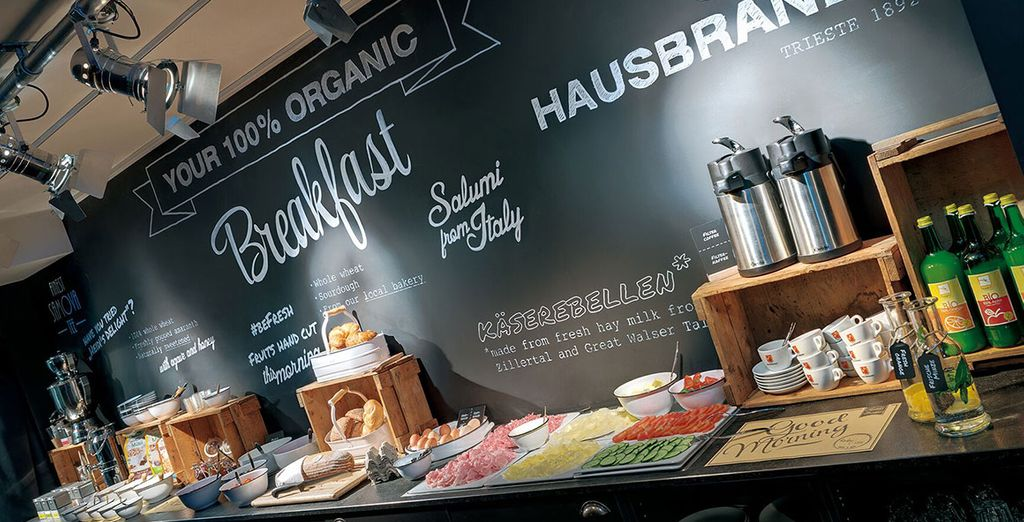 Tuck into a largely organic breakfast buffet