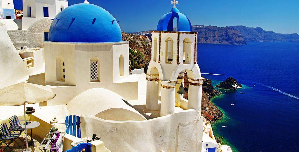 Feast your eyes on the unique landscsape of Santorini