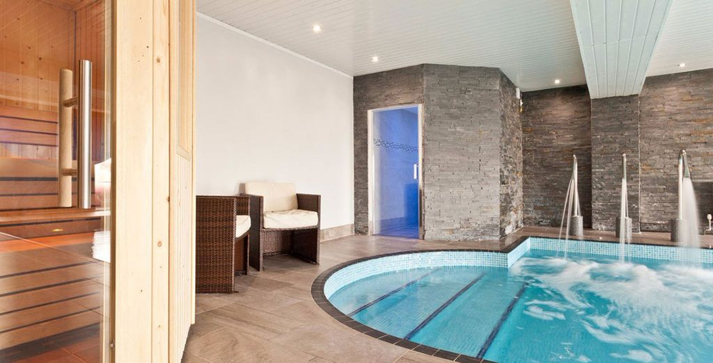 Guests can unwind in the on-site heated pool, sauna and steam room