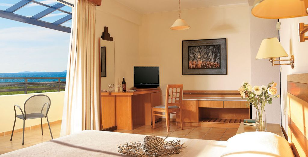 Choose from a double room with side sea view