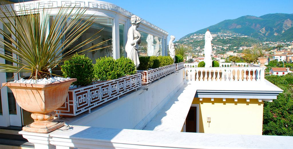 Enjoy the views from the panoramic terrace restaurant