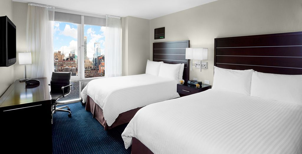 Where your spacious room is bright and welcoming