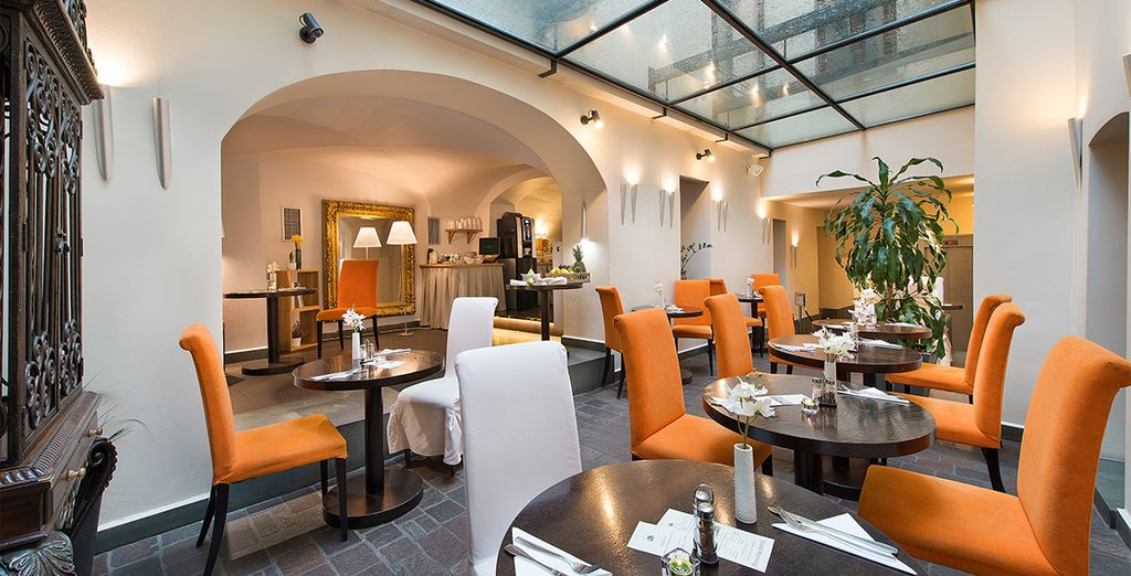 Dine in the sleek and stylish restaurant