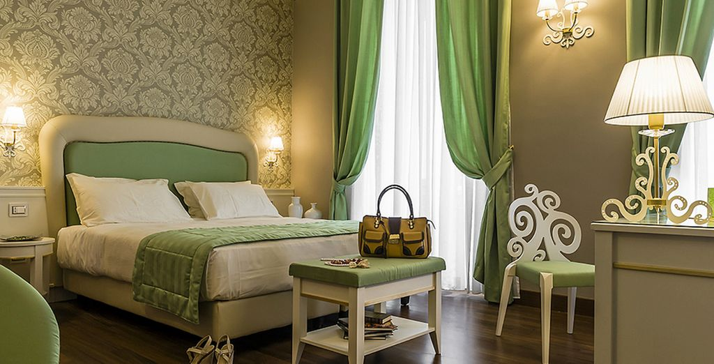 Stay in a spacious and elegantly decorated room