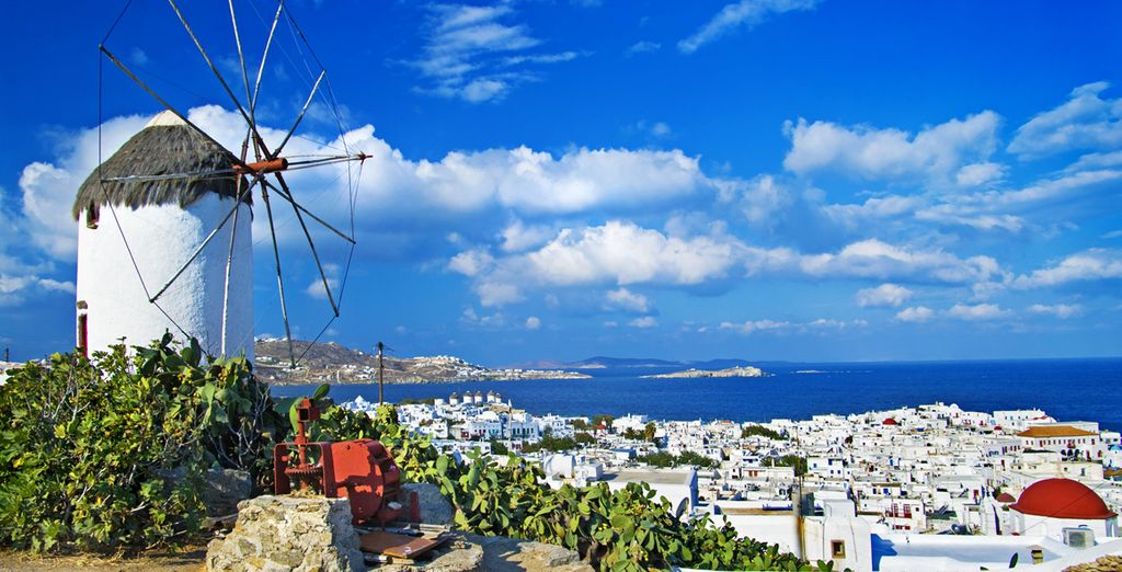 Close to Mykonos' famous windmills