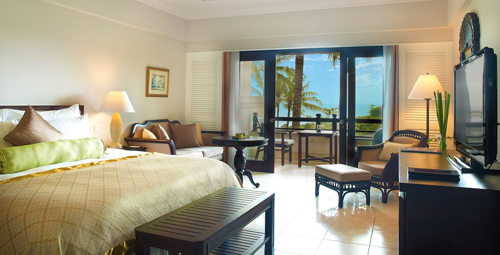 Where you will stay in a gorgeous Ocean View Room