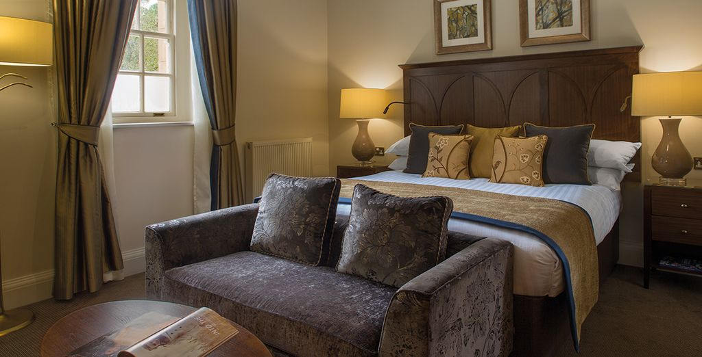 Both rooms blend traditional British charms with modern luxuries