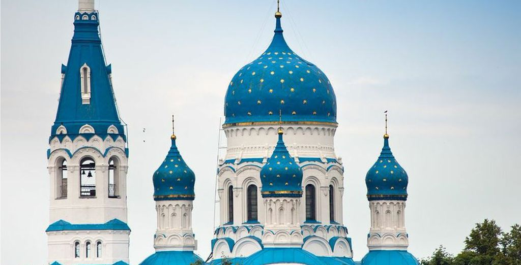 Gold decorated onion domed Cathedral in St Petersburg
