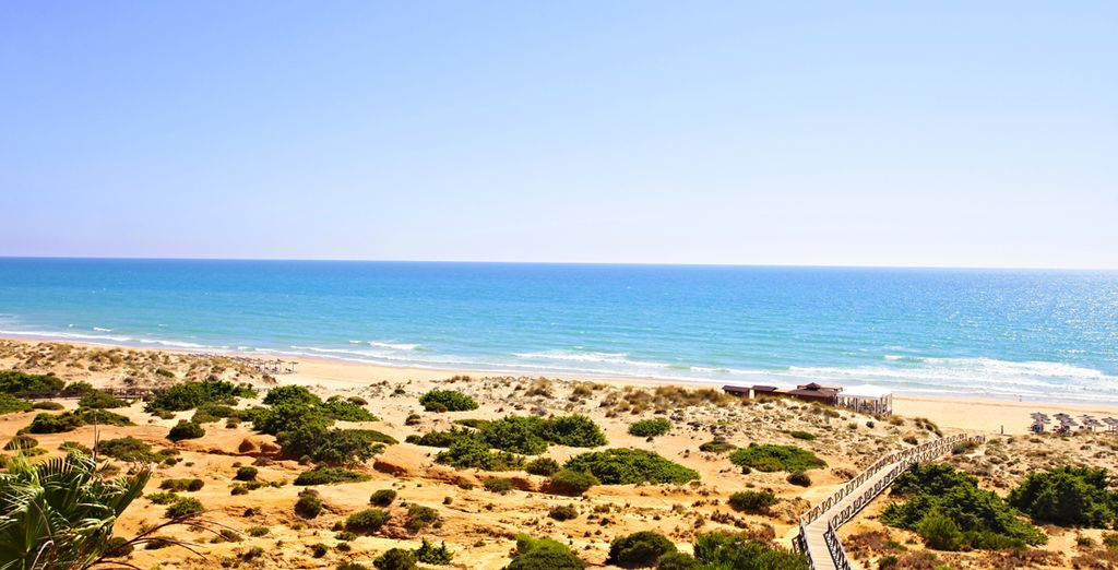 Facing the 6 mile stretch of beautiful La Barrosa beach