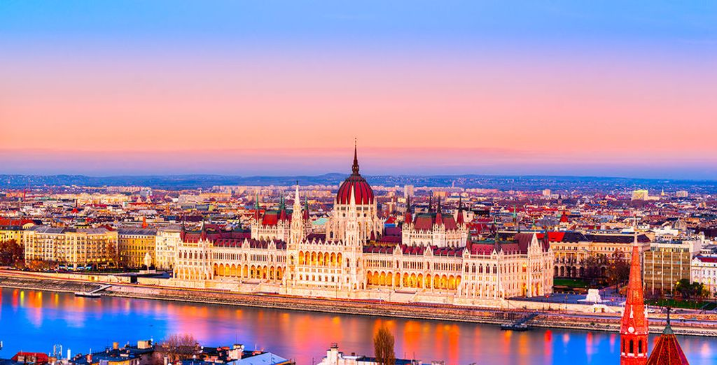 This grand hotel is just down the road from Budapest's ornate parliament building