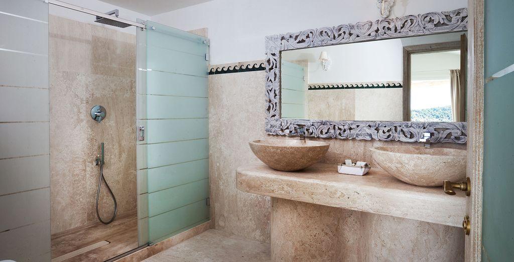 With an elegant bathroom