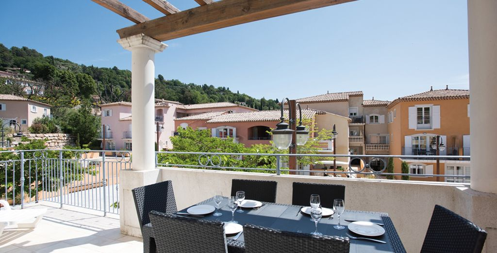 Where you can breakfast on your sun-baked terrace