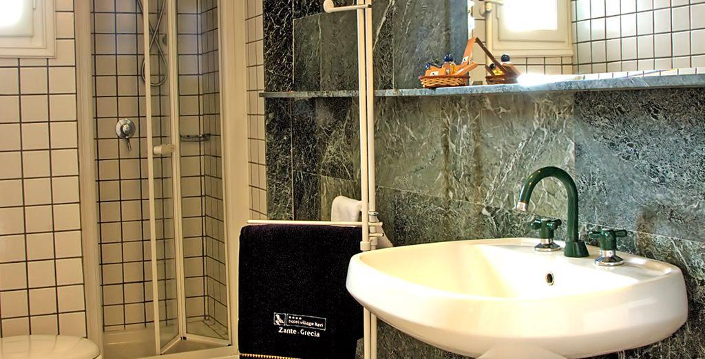 And a luxuriously modern bathroom