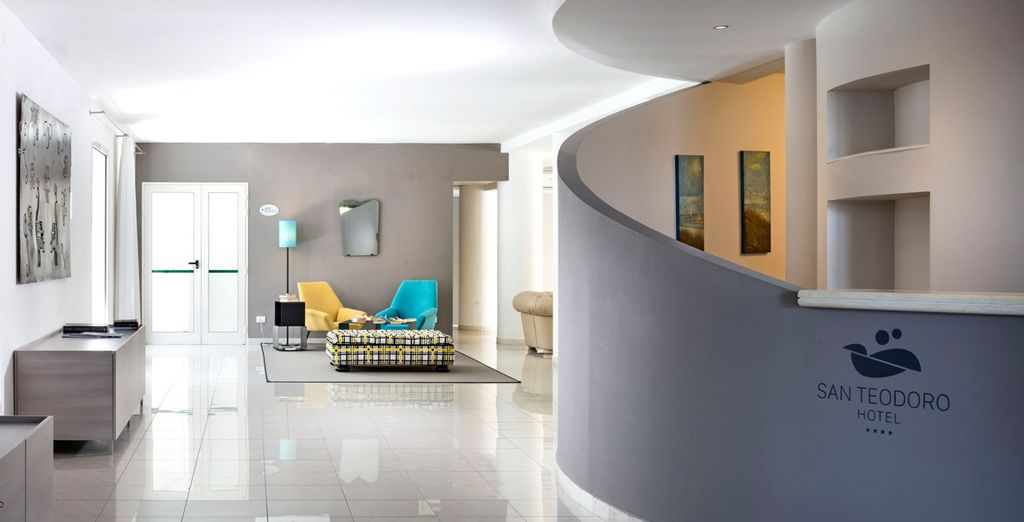 Enter through the stylish lobby
