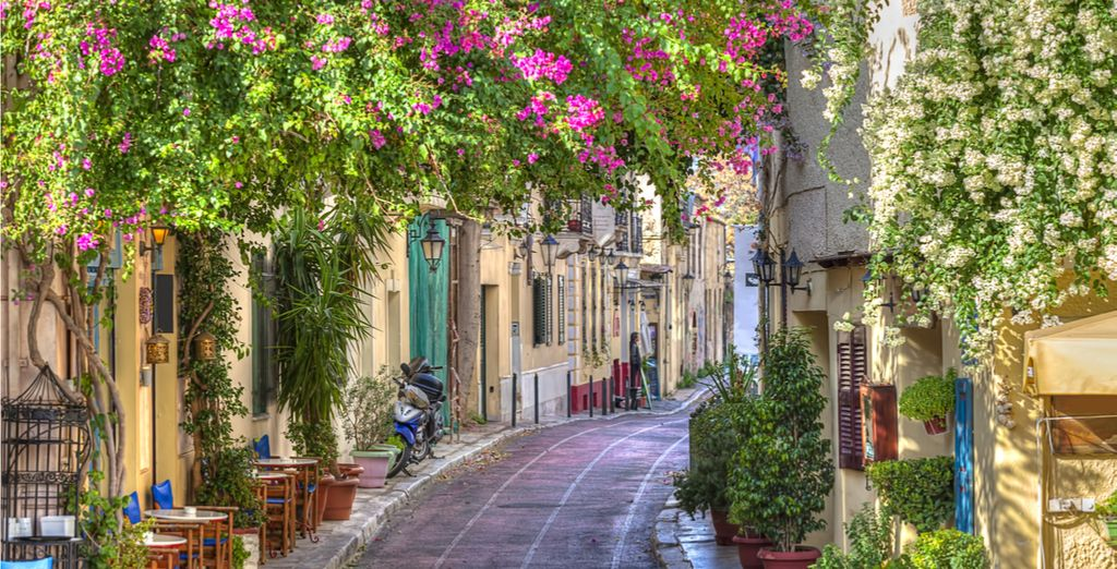 Stroll through the pretty cobbled streets of Greece