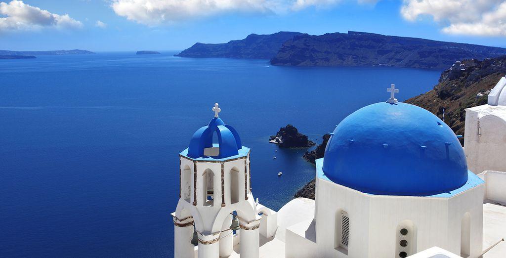 Visiting destinations such as romantic Santorini...