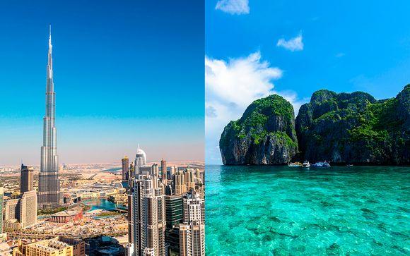 Futurista Dubái y la costa tailandesa con vuelos