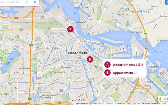 Localisation géographique des 3 appartements